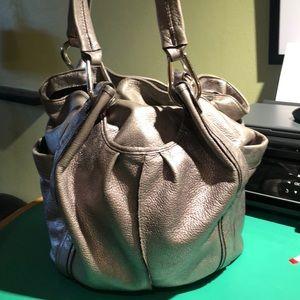 B. Makowsky Silver Metallic Large Shoulder Bag
